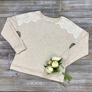 St. John's Bay Tan Lace Sweater Medium